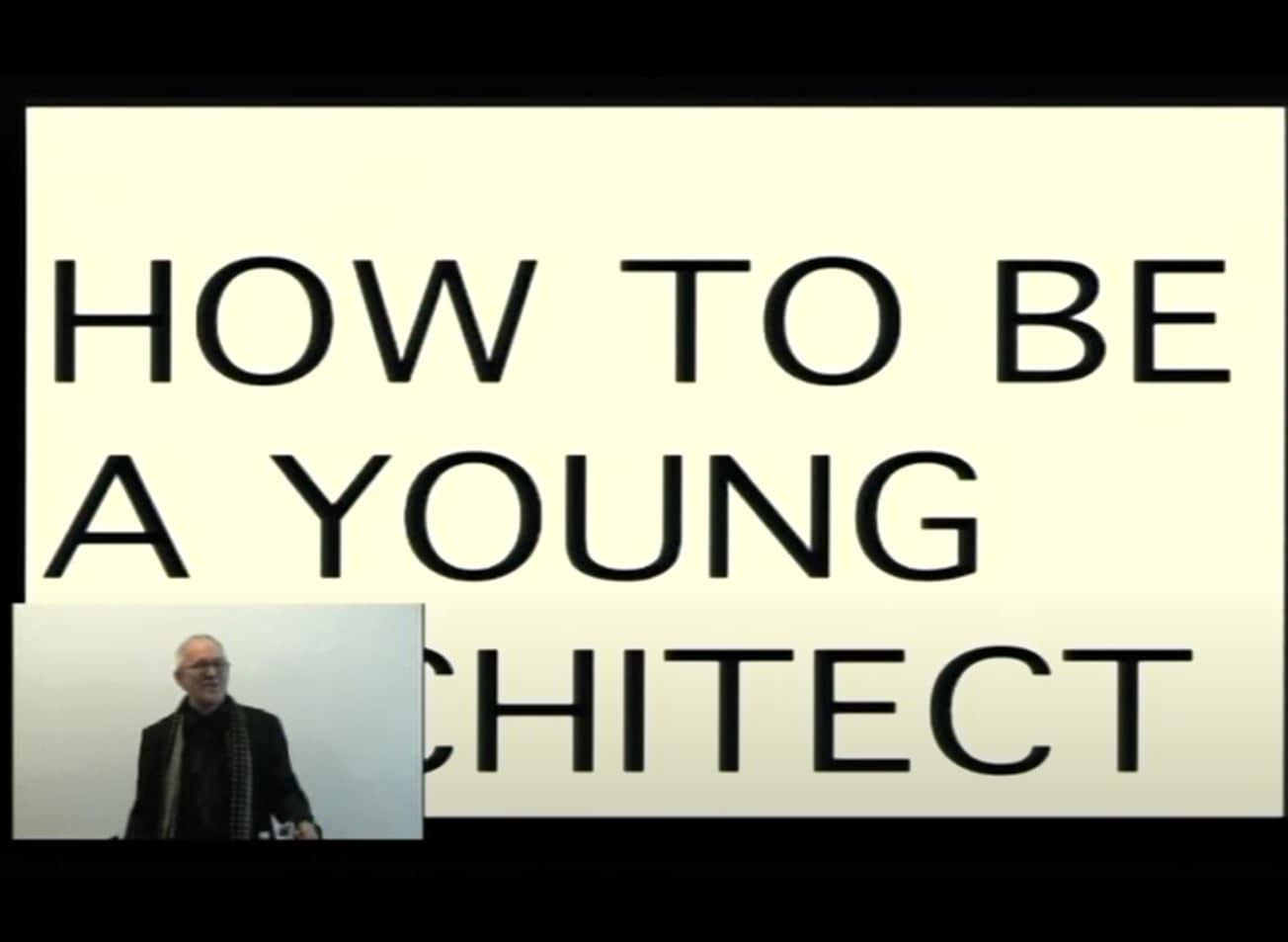 Snapshot from Peter Cook's lecture 'How to be a young architect'